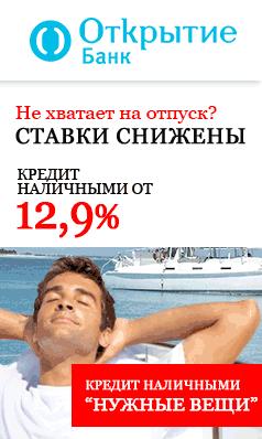 Кредит наличными от Банк Открытие
